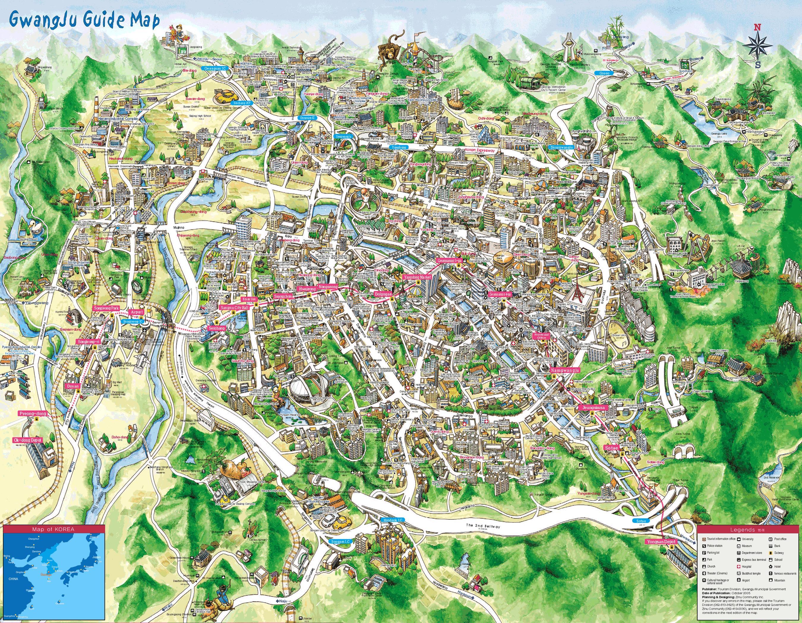 Gwangju tourist map