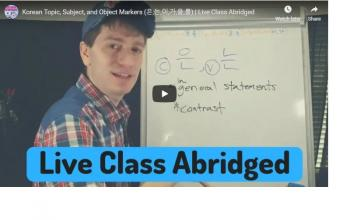 Korean Topic, Subject, and Object Markers (은,는,이,가,을,를) | Live Class Abridged