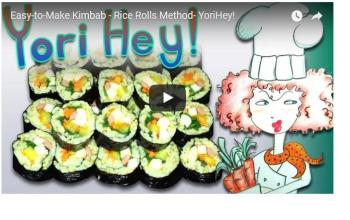 Making Kimbab rice rolls