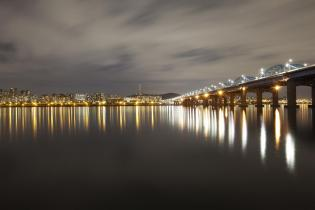 Han River and Dongjak Bridge night view, Seoul