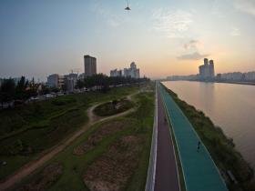 Ulsan, from a kite - Sunset