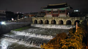 Walking the old city walls during rainy season in Suwon